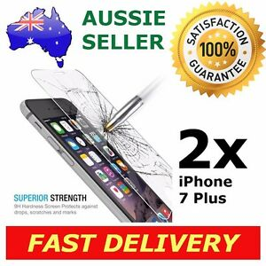 2x iPhone 7 Plus Glass Screen Protector 9H Premium Tempered Shatter Proof Apple