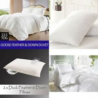 LUXURY HOTEL QUALITY GOOSE / DUCK FEATHER & DOWN DUVET QUILTS ALL SIZES 13.5 TOG