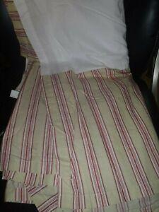 POTTERY BARN Red Beige Stripe Queen Bedskirt