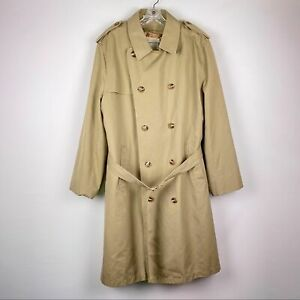 Misty Harbor Camel Double Breasted Trench Coat Overcoat Faux Fur Men's Size 44 L