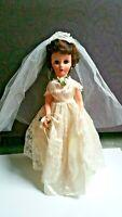 "Vintage 1950s Doll Bride Wedding Dress Hard Plastic Body Rubber Head 19"""