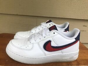 Nike Air Force 1 Lv8 (GS) Chenille Swoosh White Red Blue AO3620-101 Youth Sz 5Y