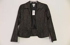 "NWT Chico's Black w/Bronze ""Fittonia Cutback"" Open-Front Jacket Size 0 (XS/S)"