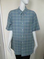 LACOSTE - BLUE/GREEN, LARGE CHECK SHORT SLEEVED  SHIRT SIZE 39