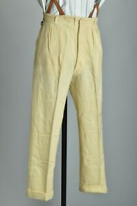 Cricketers' 1930s' Quality Cream Flannel Trousers with Turn-Ups. Ref CTM