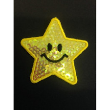 Smiley Happy Face Sequin Star Iron On Craft Motif Stylish Patch