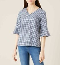 HOBBS stripe top size 14 top fluted bell sleeve 100% cotton bonnie blouse
