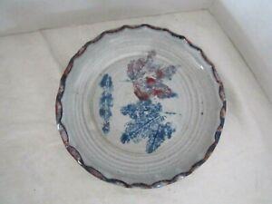 "OWENS POTTERY SEAGROVE, NC Colorful Dish Bowl Ruffled. Leaf Purple Ceramic 6.75"""
