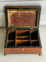 Antique Wooden Trinket Jewelry Box Clawfoot deco NICE repair SEE PICS