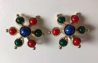 Vintage Sarah Coventry Carnival Red Blue Green Cabochon Clip-On Earrings