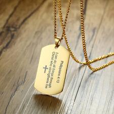 Gold Men Necklace Pendant Dog Tag Strength Bible Verse Philippians 4:13 Prayer