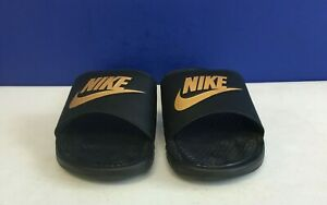 Nike Benassi Just Do It Athletic Sandal, Black/Metallic Gold, Men's Size 12