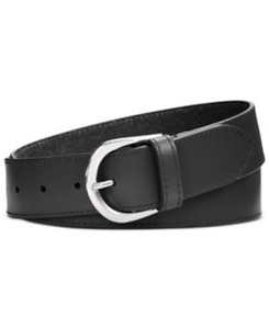 """Calvin Klein Womens Black Single Prong Smooth Leather Waist Belt Small 32"""""""