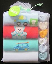 Baby Gift Pack Shower Boys Set 4 Rompers 6 Facewashers Sz 12 Mth
