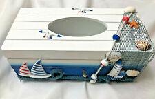 Coastal Nautical Seashore Tissue Box Cover Bathroom Decor Shells, Sailboats