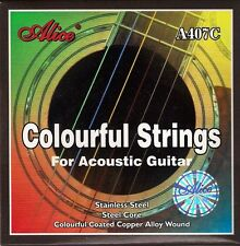 New Set of Alice Multi Coloured Acoustic Guitar Strings 11 - 52