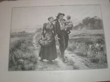The Labourers' Return by Leon Gaud 1900 old print