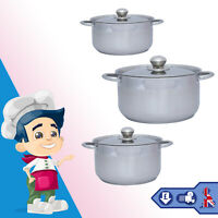 6Pc Cookware Pot Set Induction Hob Stainless Steel High Quality Saucepan Kitchen
