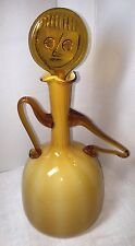 Italian Empoli Lady Face MCM Bar Decanter Golden Glass Art 1960's Modern Pitcher