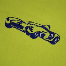 serviette de table vert-jaune de 40 x 40 cm avec voiture brodée.