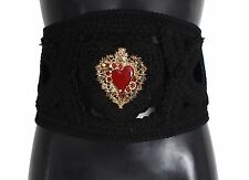 NUEVO DOLCE & GABBANA Cinturón ancho 'TORERO' Ante Negro Sagrado Corazón S,S /
