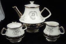Gibsons Staffordshire 25th Anniversary Teapot Set,Tea Pot,Sugar Bowl,Creamer