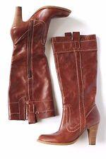 Marc Fisher Leather Boots Heels Women 6 M Hyden Cognac Brown Shoes Side Zip Gore