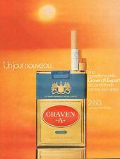 """Publicité Advertising 1971  Cigarettes CRAVEN  """"A""""  EXPORT"""
