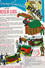 Lincoln Logs CHILDREN'S TOY HOUSE RAILROAD Vintage Advertising Print 1940 Matted