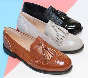SALE Womens Flats Brogue Loafers Work Tassels Office Pumps Ladies School Shoes