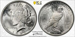 1923 PCGS MS66 Peace Silver Dollar Lustrous Coin