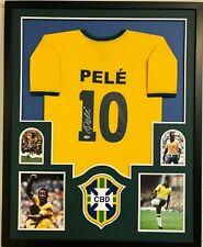 FRAMED PELE AUTOGRAPHED SIGNED BRAZIL BRASIL SOCCER JERSEY PSA COA