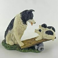 Border Collie and Pups Dog Ornament Figurine Dog Lover Sculpture