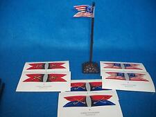 CIVIL WAR 6 UNION CAVALRY/ARTILLERY GUIDONS w/ stand 54mm Toy Soldiers