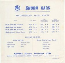 Skoda Original UK  Price  List  1966 1000MB Octavia Super Combi