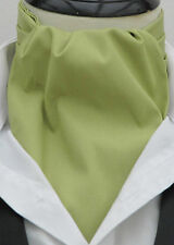 Mens Plain Sage Green 100% Cotton Ascot Cravat & Handkerchief - Made in UK