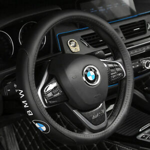 "15"" Car Steering Wheel Covers For BMW 1/3/5/7/X1/X3/X5/X6 Series Genuine Leather"
