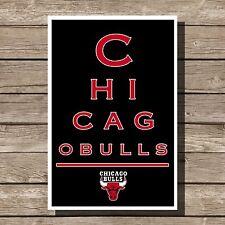 """Chicago Bulls Art Basketball NBA Eyechart Poster Man Cave Decor 12x16"""""""