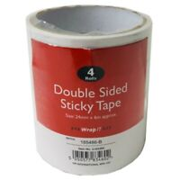 4X ROLLS OF DOUBLE SIDED CLEAR STICKY TAPE DIY STRONG CRAFT ADHESIVE 24MM X 6M