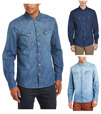 Wrangler Denim Shirt New Western Light Dark Indigo Blue Jean Shirts Regular Fit