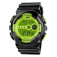 Montre Homme Digitale LCD Sport Multifonction Chronomètre Etanche Armée Vert