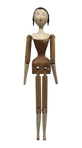 """Vintage Antique Wooden Peg Doll """"O"""" Mouth Black Hair Jointed"""