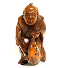 "Y1717 - 2"" Hand Carved Boxwood Netsuke : Elder Fishman"
