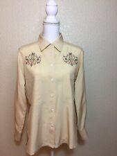 250ef5c9ffd5 JAEGER 100% SILK WOMEN S BLOUSE Vintage Top Button Down Shirt Sz M  EMBROIDERED