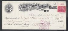 USA 1898 ADRIAN STATE SAVINGS BANK 2C DOCUMENT TAX REVENUE STAMP ON DOCUMENT