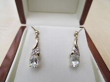 Ladies 9ct Yellow Gold Genuine Aquamarine and Diamonds Drop Earrings -NWOT
