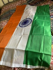 "INDIA NATIONAL FLAG GIANT 60"" x 35"" INDIAN ASIAN BRASS EYELETS"