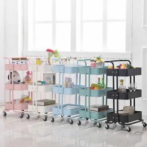 3 Tier Slim Kitchen Storage Trolley Cart Metal Rack Tray Rolling On Wheels *UK*