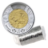 2015 CANADA REMEMBRANCE DAY POEM IN FLANDERS FIELDS $2 TOONIE FROM ROLL UNC BU