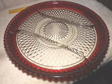 Vintage Indiana Glass Diamond Point Ruby Red Flash Divided Serving Platter